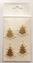Sticker Tanne m. Stern perlivory/ goldglitter