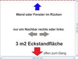 """Eck-Standfläche 2 m vor Wand oder Fenster klein (im Plan """"magenta"""" (pink))"""