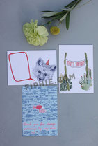 "Set of 3 Postcards ""Greeting Cards"""