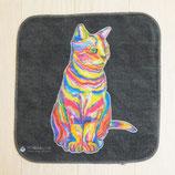 レインボー猫ミニタオル