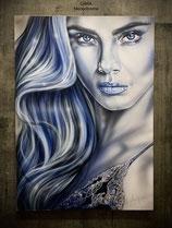 Portraits sur papier 50X70 cm , encadré, cadre Alu.