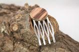 Haargabel kurz / Mini Größe / 3 Zinken / Bronze / gebogen / Intarsie / Walnuss