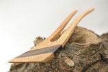 Haargabel / Kleine Größe / 2 Zinken / gebogen / Intarsie / Walnuss+Redwood