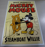 Disney ミッキーsteamboat willie ポスター 絵 ディズニー復刻版
