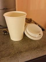 Kaffeebecher to go, weiß - 12oz/300ml, Pappbecher mit weißem Deckel (10er Packung)