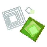 Sizzix Framelits Die Set 6pk Scallop Squares SIZ657566