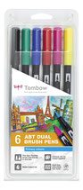 Tombow ABT-6P-1 Dual Brush Pen Abt Fasermaler - 6 Primärfarben
