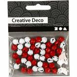 Glöckchen, Durchmesser: 8 mm, rot/weiß, 50 sort.