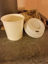 Espressobecher to go, weiß - 4oz/100ml, Pappbecher mit weißem Deckel (10er Packung)