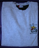 Sweat-shirt gris chiné unisexe petit logo side-car côté coeur
