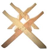 Wooden barrel stand in cross design.
