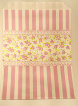 Papiertüte rosa Streifen / Blumen (10 Stk.)
