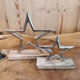 Silber Stern mit Holzständer
