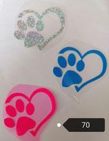 """Bügelbild Nr. 70"""" Hundepfote mit Herz"""""""