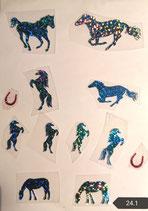 """Bügelbilder Set Nr. 24.1  """" Pferde glitzer blau """""""