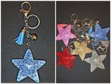 Schlüsselanhänger Strass Stern Blau