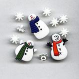 Knöpfe Schneemann und Schneeflocken