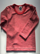 Kinder-Unterhemd langarm rot-natur Nr. 124