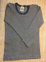 Kinder-Unterhemd langarm blau-natur Nr.128