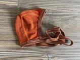 Baby-Häubchen orange mit braunem Rand 71090