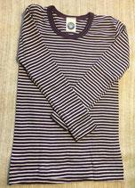 Kinder-Unterhemd langarm pflaume/natur Nr.123