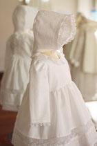 Bonnet baptême Marie coton blanc et dentelle