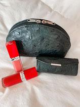 Lippenstift doosje in struisvogelleder met spiegeltje - 9 x 4 cm