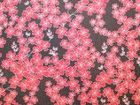 Baumwollstoff Blumen braun-rot