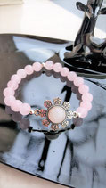 bracelet quartz rose connecteur metal cabochon quartz rose