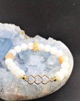 bracelet nacre coeur metal dorée