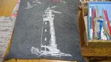 Stickkissen Leuchtturm  40 x 40   grau Leinen  mit Glanzgarn (weiß )  mit  Inlett