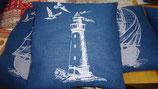 Stickkissen Leuchtturm   40 x 40   blau Leinen  mit Glanzgarn (weiß )  mit  Inlett