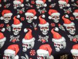 French Terry  Totenkopf mit Weihnachtsmütze