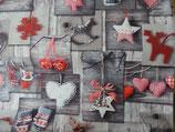 graugrundig mit Herzchen  und Sternchen grau / rot