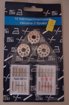 Nähmschinen-Nadeln inkl. 3 Spulen