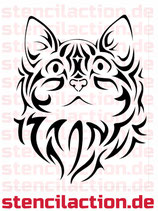 Schablone - Cat Face Tribal 25x19 cm
