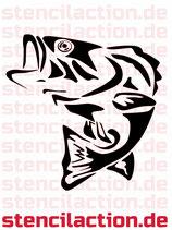 Schablone - Barsch Fisch