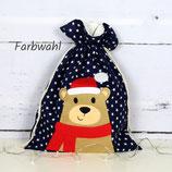 Geschenkbeutel Bär mit Weihnachtsmütze ~ Nikolaussäckchen | Weihnachtssäckchen | Personalisiert