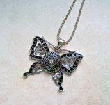 Halskette & Chunk Silberfarben Schmetterling Strass