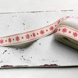 1m Baumwollband - Schneeflocken - 15mm