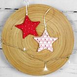 2er Set Sterne zum Aufhängen ~ Deko aus Stoff | Baumschmuck | Weihnachten