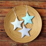 3er Set Sterne zum Aufhängen Blau Kinderzimmer