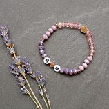 Initialen Armband • Blume & Herz | Perlenarmband | Armschmuck