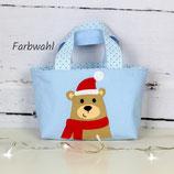 Kindertasche ~ Bär mit Weihnachtsmütze | Wendetasche | Personalisiert