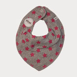 Pippi Spucktuch Sterne grau/rot