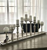 Colmore Kerzentablett 9-Leuchter mit Gewinde verstellbar Alu Raw Ni 125 x 15 x 43cm
