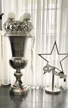 Colmore Vase Alu Raw Ni 48 x 48 x 98cm mit schwarzer Innenvase