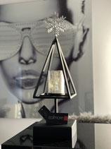 Colmore Windlicht Baum Fuss massiv matt schwarz  Glas silber 14 x 14 x 48cm