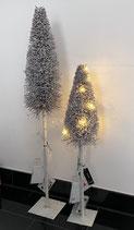J-Line Weihnachtsbaum grau mit Led Lichterkette 2 Größen
