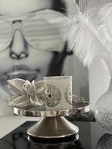 Colmore Tablett Kerzenhalter auf Fuss Alu Raw Ni 2 Größen